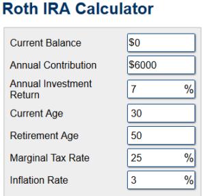 Roth savings variables